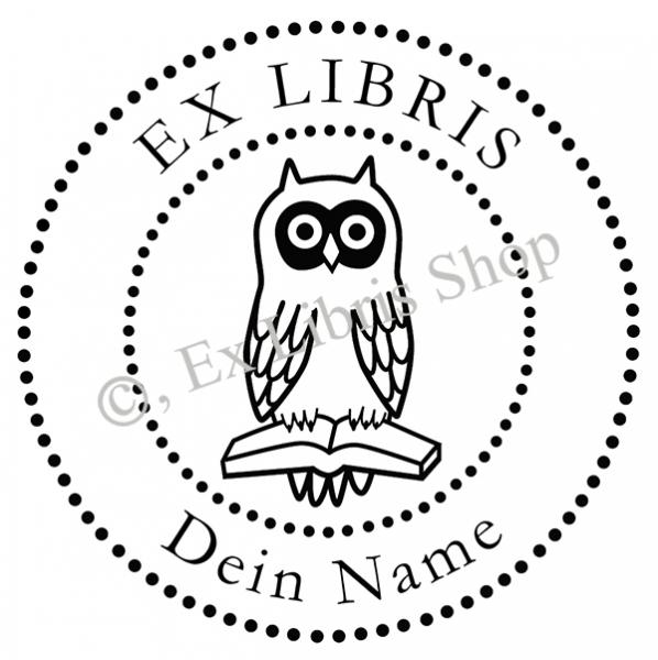 ex libris shop  exlibris rundstempel •eule mit buch•