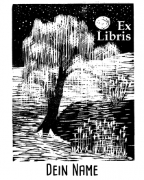 Bookplate •Weeping willow•
